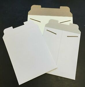 50 8.5 x 10.5 White No Bend Paperboard Tab Lock  Rigid Photo Document Mailer