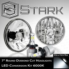 "H6024 Head Light Glass Diamond Cut Housing Lamp Classic Chrome 7"" Round LED Kit"