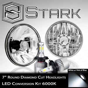 "H6024 Head Light Glass Diamond Cut Housing Lamp Classic Chrome 7"" Round LED Kit"