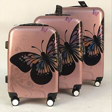 Hard Case Shell 4-Wheel Spinner PC Suitcase Hand-Luggage Trolley Cabin Butterfly