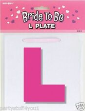 HEN NIGHT PARTY PAIR OF PINK BRIDE TO BE L PLATES