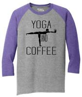 Mens Yoga and Coffee Tee 3/4 Triblend Workout Exercise