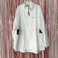 Vintage Nike Silver tag Men's White windbreaker track jacket spell out Logo 2XL