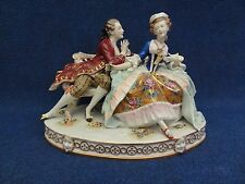 Porcelain Group Gallant seated couple on Bench, Rudolstadt, Volkstedt, Dresden