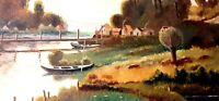 JARDON Paysage aux barques Ancien Tableau Huile sur Panneau Signé Daté 1953