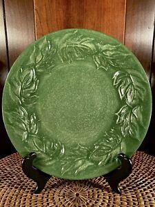 "Vintage Fioriware Art Pottery 9"" Green Leaf Salad Plate Zanesville Ohio"