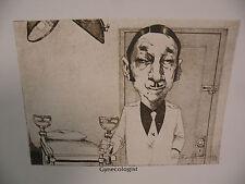 "Art print Charles Bragg artist black Lithograph ""gynecologist"" Duotone Signed"