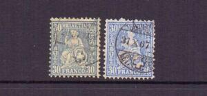 SWITZERLAND 1867 BLUE & ULTRAMARINE SG65 & 65a USED CAT £317