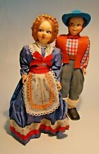 "Vintage 1940s-50s 9"" Composition Doll Couple Made in Italy Traditional Costume"
