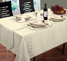 "LUXURIOUS MODERN WOVEN CHECK JACQUARD CREAM TABLE CLOTH 52"" X 52"""