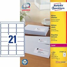 AVERY L7160-100 QUICKPEEL WHITE LASER ADDRESSING LABELS 100 SHEETS
