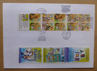 2001 WILD BABIES 10 STAMP BOOKLET 5 DIFF POSTMARKS LARGE FDC