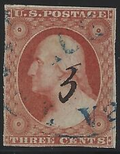 US Stamps - Sc# 10 - 3c Washington - Used, Sound       $200              (A-900)