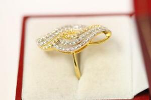916/22ct sparkling attractive indian 2 tones gold ring size N 1/2 *Boxed*