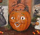 Prim Antique Vtg Paper Mache Style Halloween Jack O Lantern Org  Pumpkin Bucket