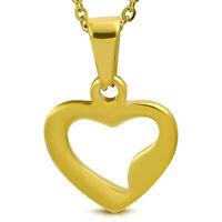 Anhänger Herz offen Gold Edelstahl Pendant Damen Herren Halskette Armband BFF