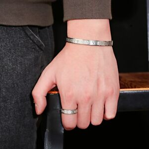 6 MM Luxury Roman Numeral Bangles Stainless Steel Rings Set Fashion Mens Jewelry