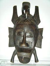 "Vintage African Senufo Kpelie Hand Carved Wood Face Mask 14½"" Tall"