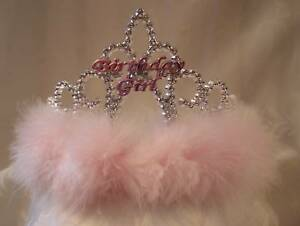 "Birthday Tiara - ""Birthday Girl"" Silver Plastic with Pink Downy Feathers"