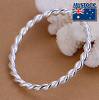 925 Sterling Silver Filled Women's 5MM Twisted Rope Solid Charm Bangle Bracelet
