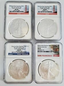 4) US American Silver Eagles $1 Coin Lot 2011S - 2014S Early Releases NGC MS69