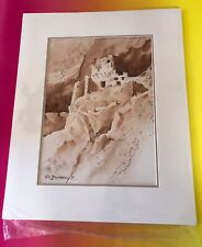 BARRY SAPP Watercolor Art Native American Indian Cliff Dwelling