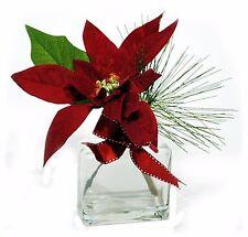"""Velvet Burgundy Poinsettia in Glass Vase Christmas Arrangement 10"""" NEW X-XLF082"""