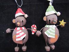 CHRISTMAS Teddy Bear Novelty Jingle Bell Ornaments ~ Set 4 NEW