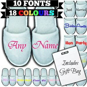 Personalised Closed Toe Spa Slippers & Bag - Any Name Message Gift Wedding Guest