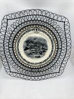 Mary Carol Home Collection - Black White Transferware Plate Rabbit