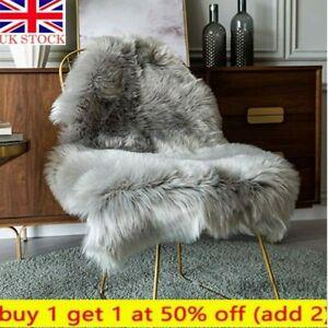 Faux Fur Sheepskin Fluffy Rug Soft Living Room Bed Large Carpet Floor Mat~ Grey