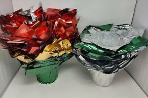 "Lot 125 pcs Christmas Poinsettia Flower Plant 6"" Pot Highland Foil Speed Covers"