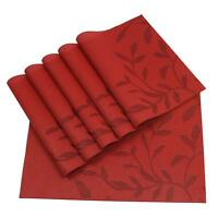 6p Red Durable Placemats for Dining Table PVC PlaceMats Heat Insulation Washable