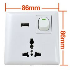 USB Port Home Wall Face Plate Outlet Panel Power Supply Socket Switch EU,UK,US