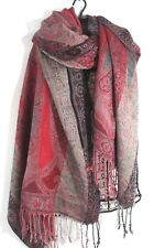 RED BLACK Gray Taupe Soft Paisley Woven RAYON SCARF Wrap Fringed Pashmina 22x76""