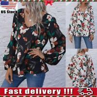 Women's V Neck Boho Print Floral Blouse Long Lantern Sleeve Loose Top Shirt