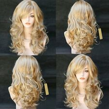 Sexy Mix Blonde Long Wavy Women Synthetic Heat Resistant Cosplay Hair Full Wig