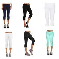 Women Cotton Active Workout Capris Mid Rise Running Legging Yoga Pants S/M/L/XL