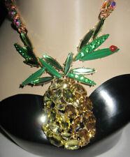 Betsey Johnson Summer Picnic Large Pineapple Ladybug Pendent Statement Necklace