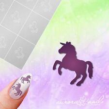 Airbrush + Nagellack klebe Schablonen M610 NAILART Einhorn Unicorn Fantasy 20x