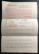 1945 Germany Buchenwald Concentration Camp Letter Gustav Soucek KZ