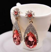 Gold tone Red Crystal Teardrop drop Dangle Earrings Pair Prom