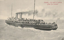 VINTAGE BLACK & WHITE POSTCARD ( RED WRITING) SS PETER DE CONINCK - OSTENDE