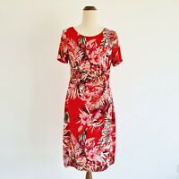 Liz Jordan Size Medium Red Floral Ruched Waist Short Sleeve Stretch Pencil Dress