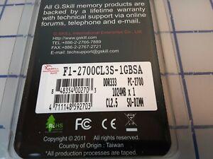 F1-2700CL3S-1GBSA GENUINE GSKILL 1GB DDR333 PC-2700 LAPTOP MEMORY SODIMM  CL2.5