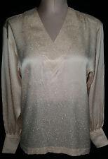 NWOT Escada  Womens Button Back Shirt Blouse Peach White Size 34 Medium 12