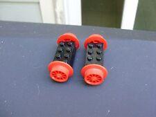 VINTAGE LEGO RED SPOKE TRAIN WHEELS with  2X4 BLACK WHEEL HOLDER