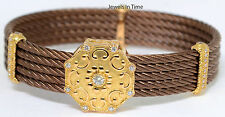 Charriol Ladies 5 Row Cable Octagonal Bracelet 18k Rose Gold Diamond & Bronze