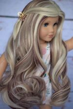 "Custom Doll Wig for 18"" American Girl doll Heat Safe Gotz rainbow Wig 10-11"" Cap"