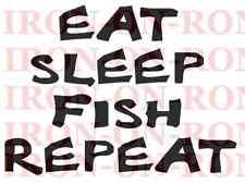 FUNNY FISHING IRON ON TRANSFER A5 8X6 T SHIRT TRANSFER FISHING EAT SLEEP A5